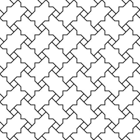 Seamless geometric ornament based on traditional islamic art.Black color lines.Great design for fabric, textile, cover, wrapping paper, background.Average thickness lines. Ilustração
