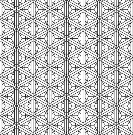 Japanese seamless pattern in black and white Ilustração