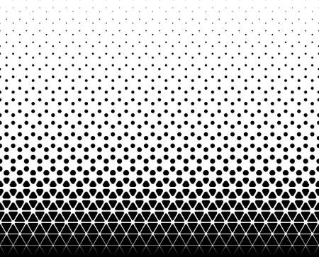Seamless halftone vector background.Filled with black figures with rounded corners. 45 figures in height.A short transition of rhombuses in a circle.