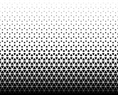 Seamless halftone vector background.Filled with black figures with rounded corners. 45 figures in height. The average transition of rhombuses in a circle. Ilustração