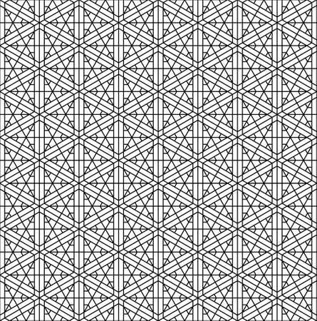 Japanese seamless Kumiko pattern in black and white.Thin lines. Ilustração