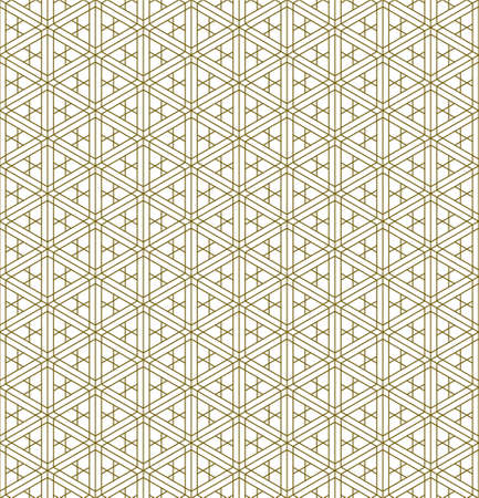 A seamless pattern based on elements of the traditional Japanese craft Kumiko zaiku. Fine lines of brown color.
