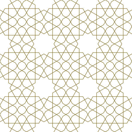 Seamless geometric ornament based on traditional islamic art.Brown color lines.Great design for fabric, textile, cover, wrapping paper, background.Average thicknes lines.