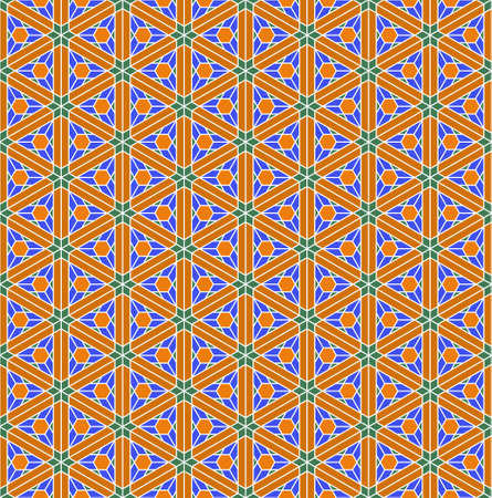 A seamless pattern based on elements of the traditional Japanese craft Kumiko zaiku. Green, orange and blue colors. Ilustração