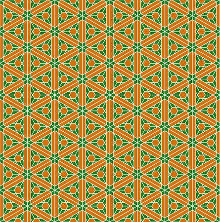 A seamless pattern based on elements of the traditional Japanese craft Kumiko zaiku. Green and orange colors. Ilustração