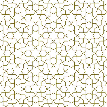 Seamless geometric ornament based on traditional islamic art.Brown color lines.Great design for fabric, textile, cover, wrapping paper, background.Thin lines. Ilustração