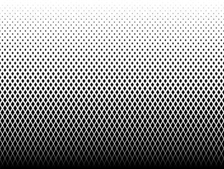 Seamless halftone vector background. Filled with black figures. 40 figures in height.Radial grid.