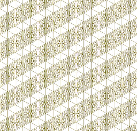A seamless pattern based on elements of the traditional Japanese craft Kumiko zaiku. Diagonal ribbons .Thin lines of brown color.