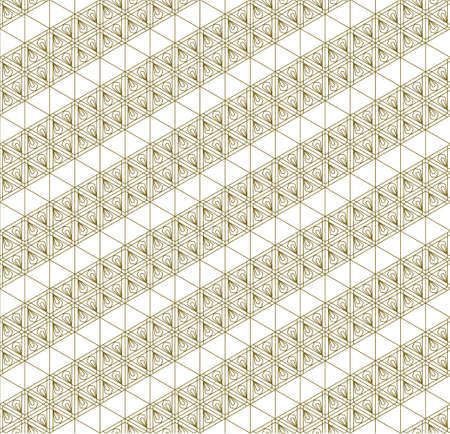 A seamless pattern based on elements of the traditional Japanese craft Kumiko zaiku. Fine lines of brown color. Diagonal ribbons.