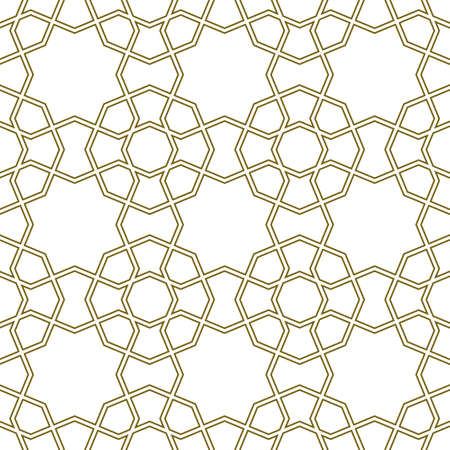 Seamless geometric ornament based on traditional islamic art.Brown color lines.Great design for fabric, textile, cover, wrapping paper, background.Doubled lines.