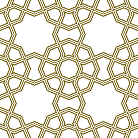 Seamless geometric ornament based on traditional islamic art.Brown color lines.Great design for fabric, textile, cover, wrapping paper, background. Ilustração