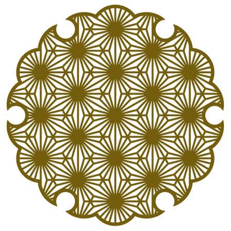 Yukiwa flower with pattern in Japanese style of Kumiko zaiku. Design element for laser cutting.