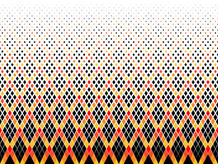 Seamless halftone vector background. Filled with black, red, yellow andorange figures. 46 figures in height.Radial grid. Ilustração