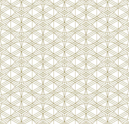 A seamless pattern based on elements of the traditional Japanese craft Kumiko zaiku. Thin lines of brown color.