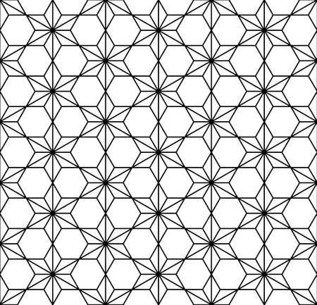Japanese seamless Kumiko pattern in black and white.Average thickness lines. Çizim