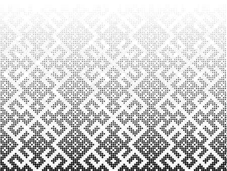 Seamless halftone vector background.Filled with black circles .Middle fade out. Based on Russian traditional ornament. 96 figures in height.