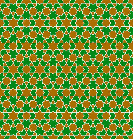 Seamless geometric ornament based on traditional islamic art.Brown, green and white colors.