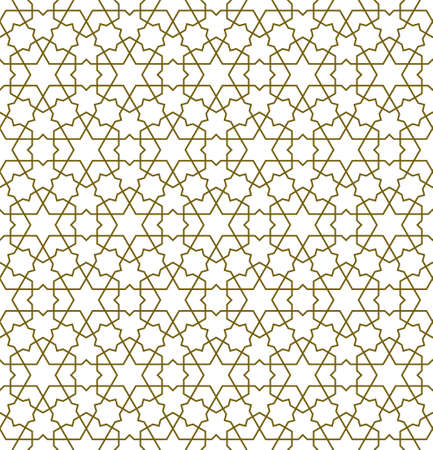 Seamless geometric ornament based on traditional islamic art.Brown color lines.Great design for fabric, textile, cover, wrapping paper, background. Thick lines.