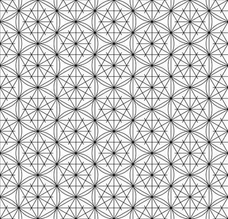 Japanese seamless Kumiko pattern in black and white.Fine lines.
