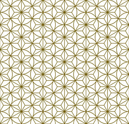 A seamless pattern based on elements of the traditional Japanese craft Kumiko zaiku. Average thickness lines of brown color. Çizim