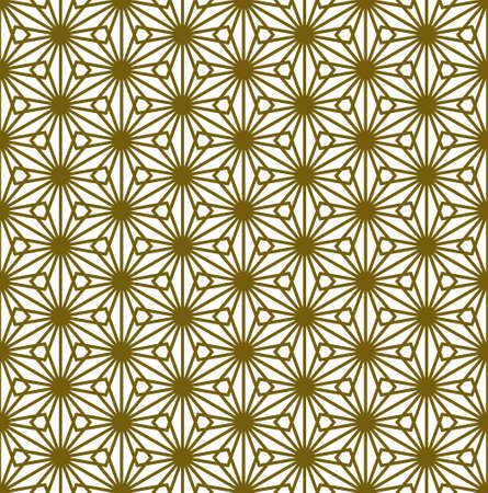 A seamless pattern based on elements of the traditional Japanese craft Kumiko zaiku. Thick lines of brown color. Çizim