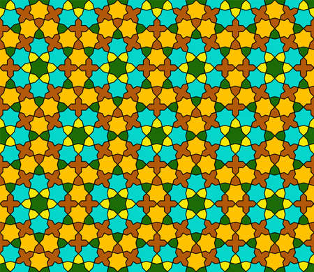 Seamless geometric ornament based on traditional islamic art. Green, brown, orange and yellow colors.