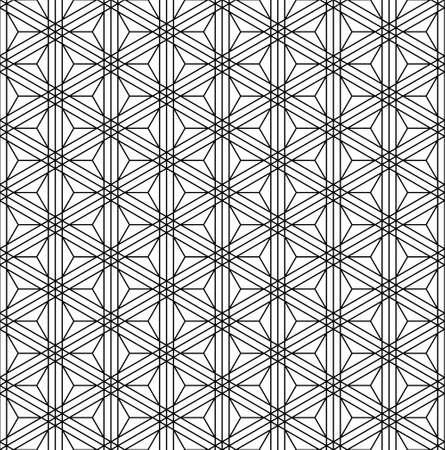 Japanese seamless Kumiko pattern in black and white.Thin lines. Çizim