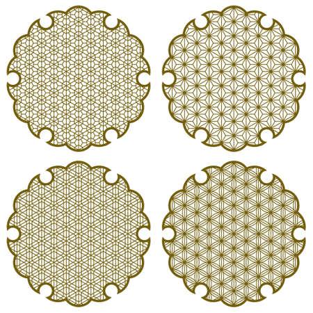 Yukiwa flower with pattern in Japanese style of Kumiko zaiku. Design element for laser cutting and paper cutting.