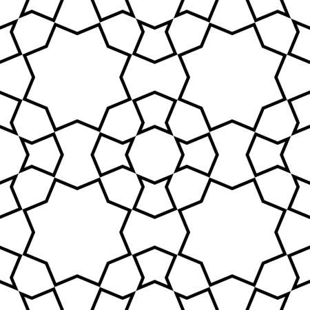 Seamless geometric ornament based on traditional islamic art.Black color lines.Great design for fabric, textile, cover, wrapping paper, background.