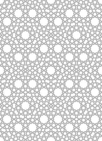 Seamless geometric ornament based on traditional islamic art.Great design for fabric, textile, cover, wrapping paper, background.Thin doubled lines.