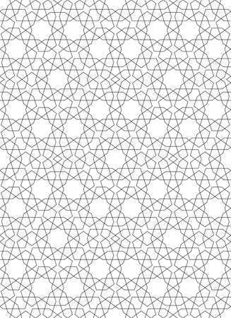 Seamless geometric ornament based on traditional islamic art.Great design for fabric, textile, cover, wrapping paper, background.Thin lines. Çizim