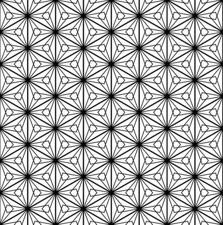 Japanese seamless Kumiko pattern in black and white.Thick lines.