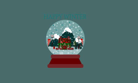 Snow globe Christmas New Year on green background.
