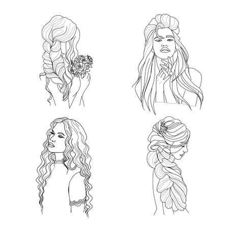 Set of linear portraits of beautiful girls with long hair, young beautiful girl with elegant hairstyle for long hair, trendy for beauty salons, avatar illustration in doodle style.