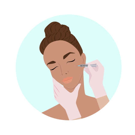 Body and face care treatments, female face, facial massage and rejuvenating masks, injections of youth and beauty, vector flat illustration, Icons for spa salons.