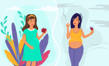 Healthy lifestyle of pregnant woman and unhealthy lifestyle concept.