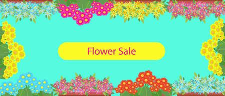 Floral sale banner, poster template for flower shop, vector illustration in flat style Vektorgrafik