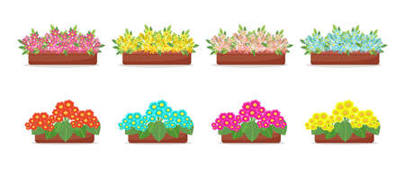 Flowers in pots in flat style set, big collection of spring flowers in boxes, vectors isolated
