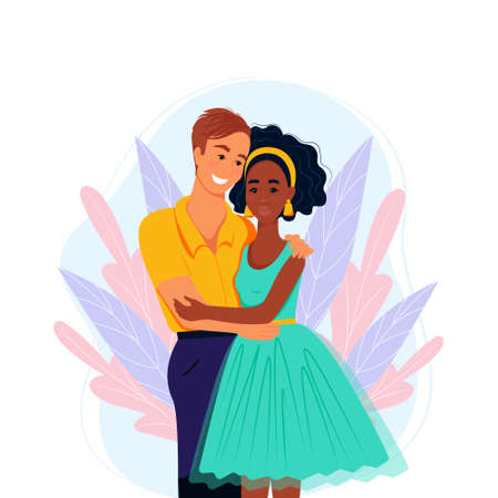 Multiracial couple in love, vector illustration in flat style. Multiethnic family