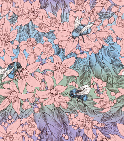 Seamless floral pattern with bumblebees. Hand panting. Raster illustration