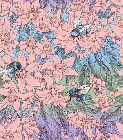 panting: Seamless floral pattern with bumblebees. Hand panting. Raster illustration