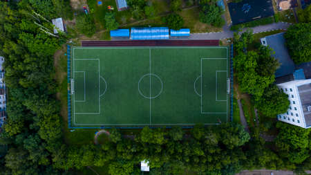 Aerial view of football field Banco de Imagens