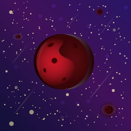 red planet in the space. vector