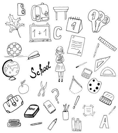Large vector Doodle set. School supplies badges.