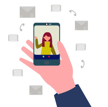 Remote online communication via phone and social networks. Hand holding a phone with video connection enabled