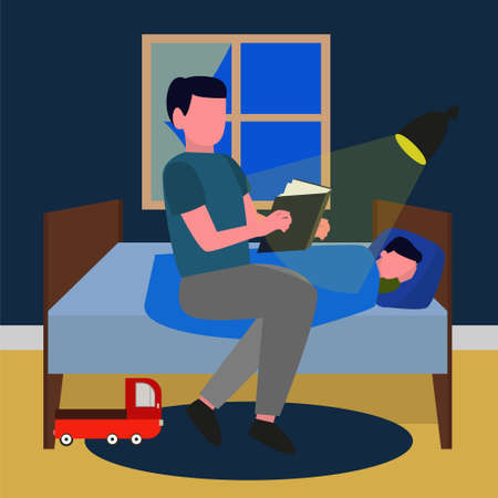 A father reads a book to a child before going to bed. Fatherly love. Care of children. Fathers and children. Cute vector illustration Ilustrace