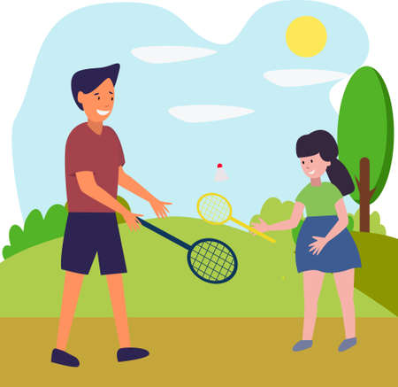 Vector illustration. Dad plays badminton with his daughter. Cute cozy illustration for father's day. Family sports