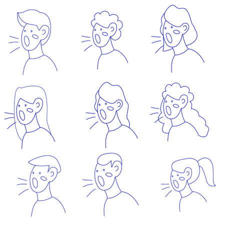 Vector linear illustration, silhouettes of people's heads expressing their opinions