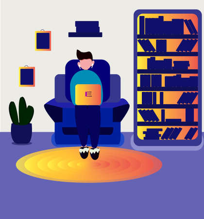 a man works at a computer at home. Remote work. Vector illustration showing a freelancer or remote employee