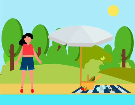 A woman stands by the lake in summer. Concept of outdoor recreation. Cute flat illustration at the reservoir. Outdoor swimming